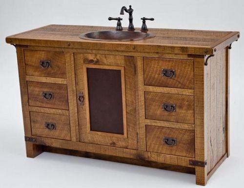 Rustic vanity reclaimed wood bath pinterest vanities - Rustic vanity cabinets for bathrooms ...