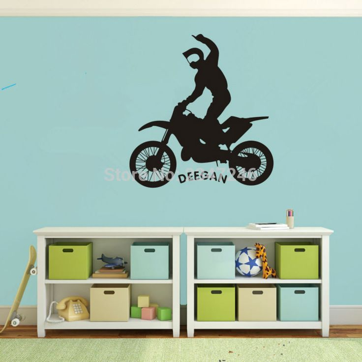Motocycle Customaid Name Wall Decal Extreme Sports Vinyl Stickers Dirt Bike  Wall Mural Art For Wall Part 90