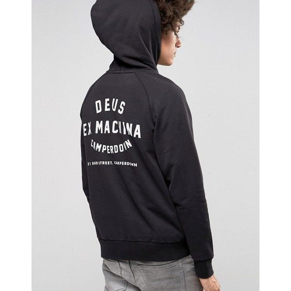 Deus Ex Machina Hoodie With Camperdown Back Print ($92) ❤ liked on Polyvore featuring men's fashion, men's clothing, men's hoodies, black, mens cotton hoodies, mens sweatshirts and hoodies, mens tall hoodies, mens hoodies and mens patterned hoodies