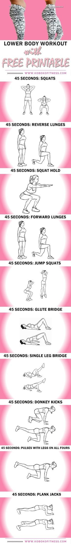 You get the best lowerbody workout. Thigh workout and butt workout all in one and youre done in 10 minutes. AWESOME butt and thigh workout with printable