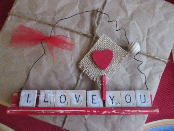 1 décoration Saint-Valentin Scrabble/ 1 decoration St