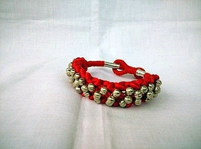 Red Bracelet with Silver Beads