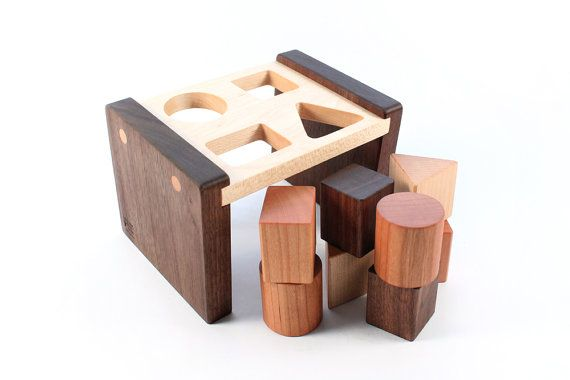 wooden SHAPE SORTER toy - a natural and organic educational wood toy, heirloom learning fun for baby and toddler
