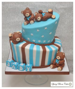 Teddy Bear baby shower - Cake by Spring Bloom Cakes - CakesDecor