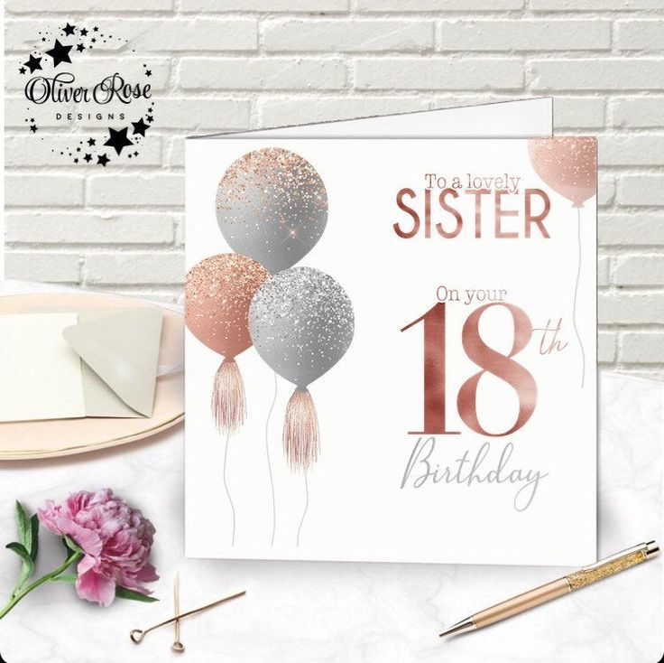 18th birthday card pink silver balloons cards for her