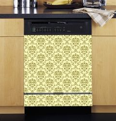 Damask Cream and Green Dishwasher Cover.Cheap Kitchen Appliance Upgrades.