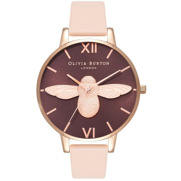 Olivia Burton Moulded Bee Watch - Nude Peach & Rose Gold (£135) ❤ liked on Polyvore featuring jewelry, watches, peach jewelry, pink gold watches, red gold jewelry, dial watches and nude jewelry