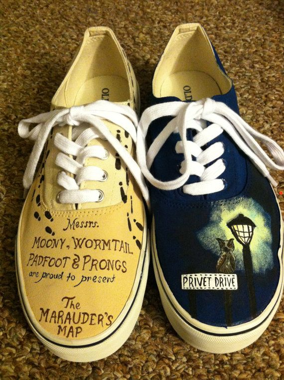 Last pinner: Beauty and the Beast Inspired Shoes by HandPainted29 on Etsy                                                       .  What? This is Harry Potter