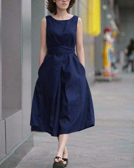 Blue Linen Dress - RP Dress
