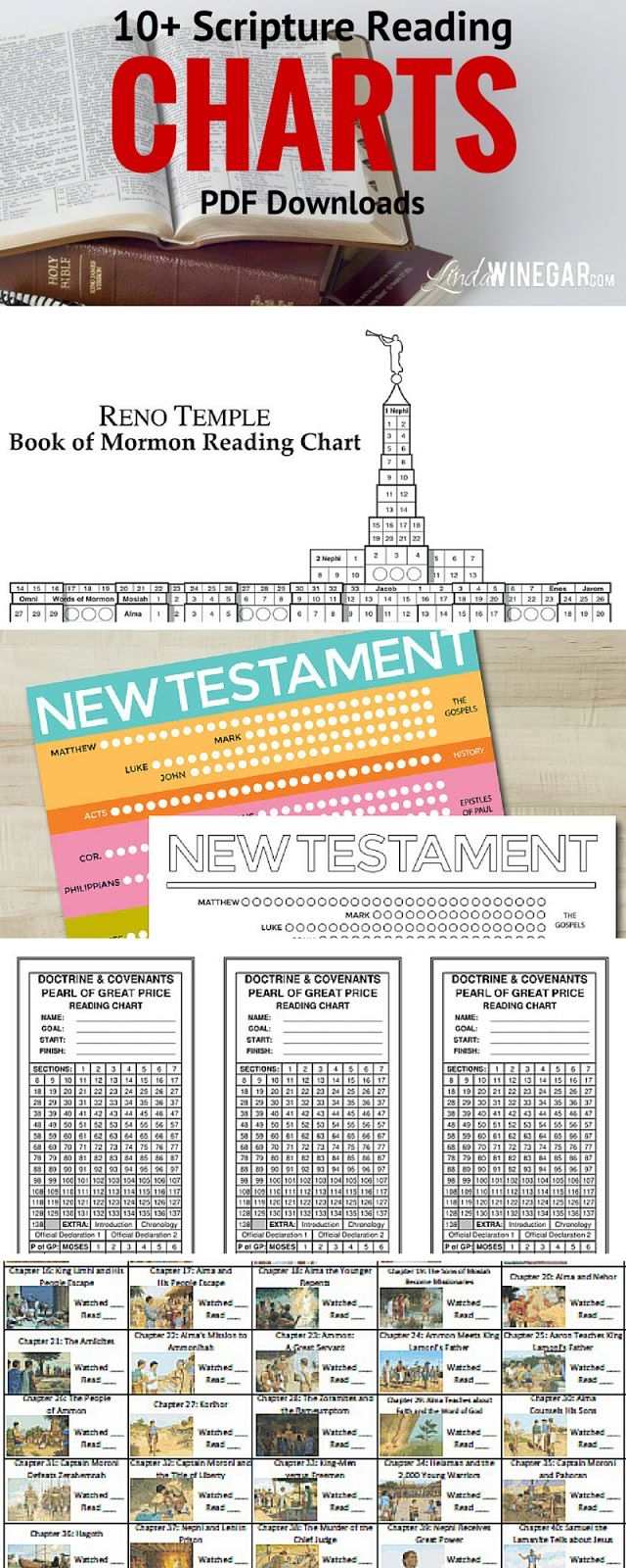 10+ Scripture Reading Charts | scripture reading charts for The Book of Mormon, The Holy Bible both Old & New Testaments, the Pearl of Great Price and the Doctrine & Covenants. | LindaWinegar.com #ScriptureReading #LDS #LDSconf