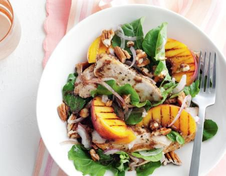 Grilled Chicken & Peach Salad. This light, gluten free salad is great on a hot day. #Woolworths #recipe #salad http://www.woolworths.com.au/wps/wcm/connect/Website/Woolworths/FreshFoodIdeas/Recipes/Recipes-Content/grilledchickenandpeachsalad