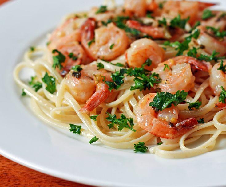 lemon garlic shrimp scampi Italian pasta fettuccine linguine recipe
