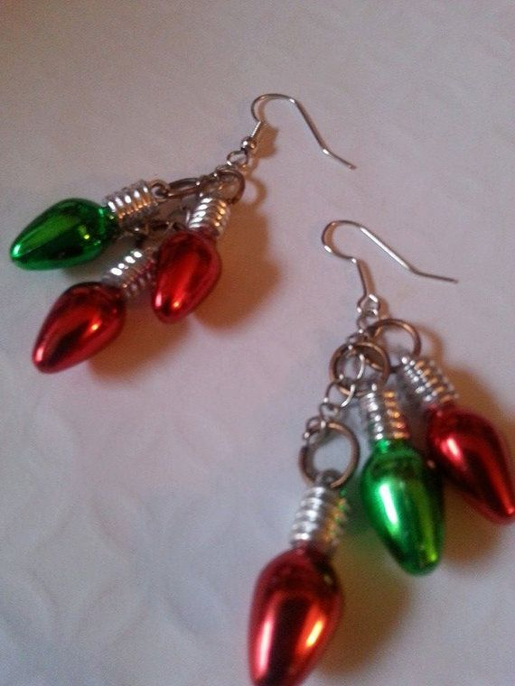 Christmas Lights Earrings / Christmas Earrings / by MyMetalHeart, $6.50