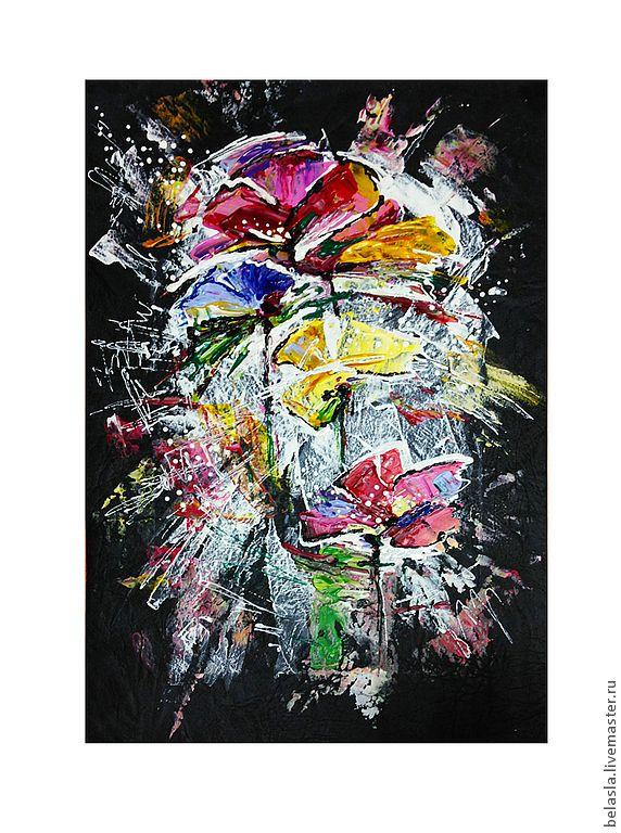 Купить Феерия, картина на коже - белый, желтый, красный, голубой, сиреневый, серый, цветы, кожа