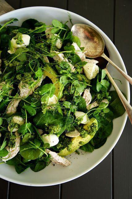 Spinach Chicken Salad with Avocado, Pea Shoots, Fresh Mozzarella & Pesto