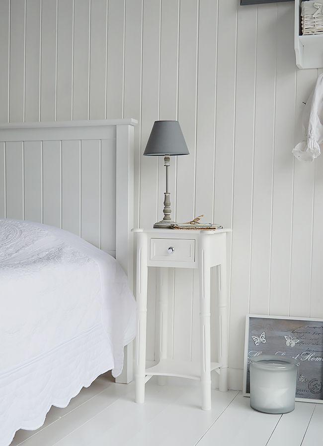 New England White Beside Table With Silver Handle. A Tall Narrow Nightstand  With A Drawer Part 82