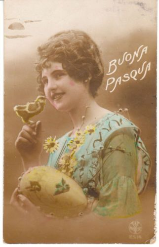 1921 Vintage Easter postcard - handtinted photo of a woman with a baby chick