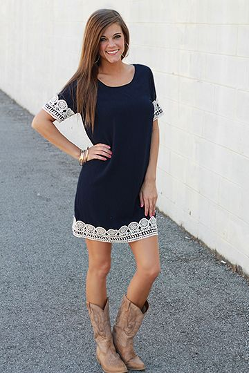 """OMG! We l-o-v-e LOVE the crochet embellishments on the sleeves and hems of this loose dress! Totally amps up this casual dress!:) Fits true to size. Miranda is wearing the small. Shoulder to hem: S - 33"""" M - 33.5"""" L - 34"""""""