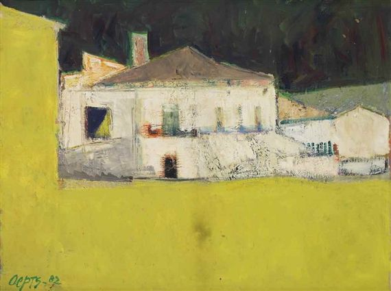 Wim Oepts - Het witte huis; Creation Date: 1982; Medium: oil on canvas; Dimensions: 19.69 X 25.59 in (50 X 65 cm)