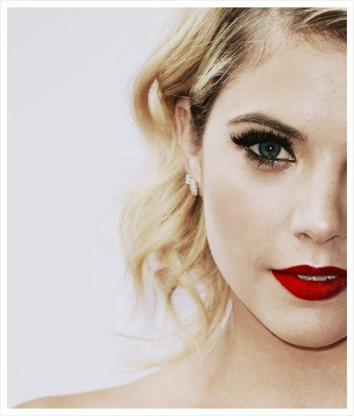 Dark Red Lipstick, Pale Face Make-Up, Dark Eyeliner, Black Mascara, Old Hollywood Curls; Ashley Benson.
