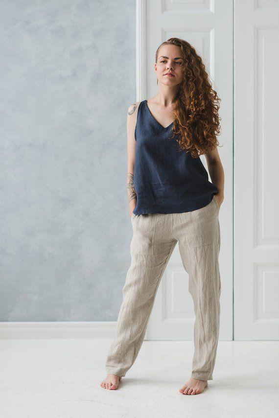 e4fb7a9328c Linen Pants CORFU   Washed Women Linen Trousers   Linen Pants ...