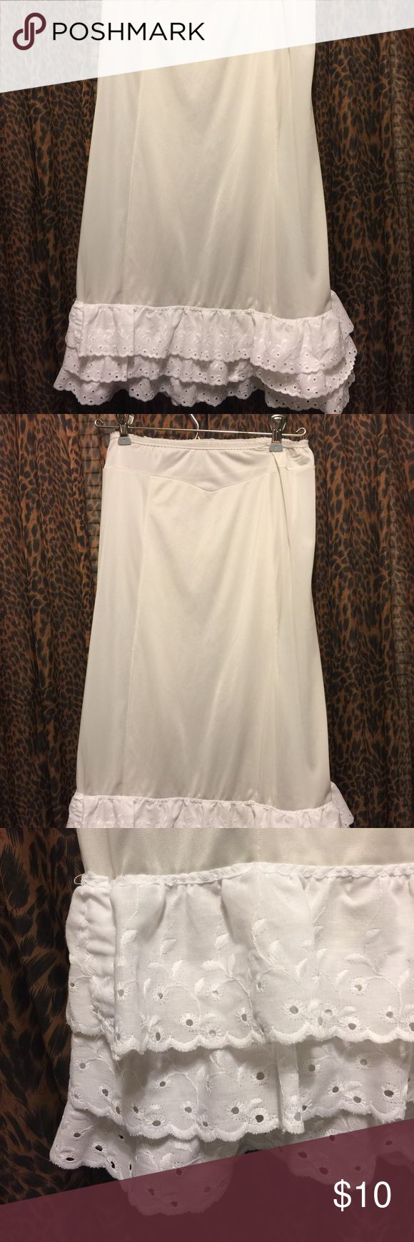 Medium slip/skirt extender. White skirt extender. This is for an white slip/ skirt extender! Make your skirts or shirts longer to wear with your tights! Size medium! Tops Tunics