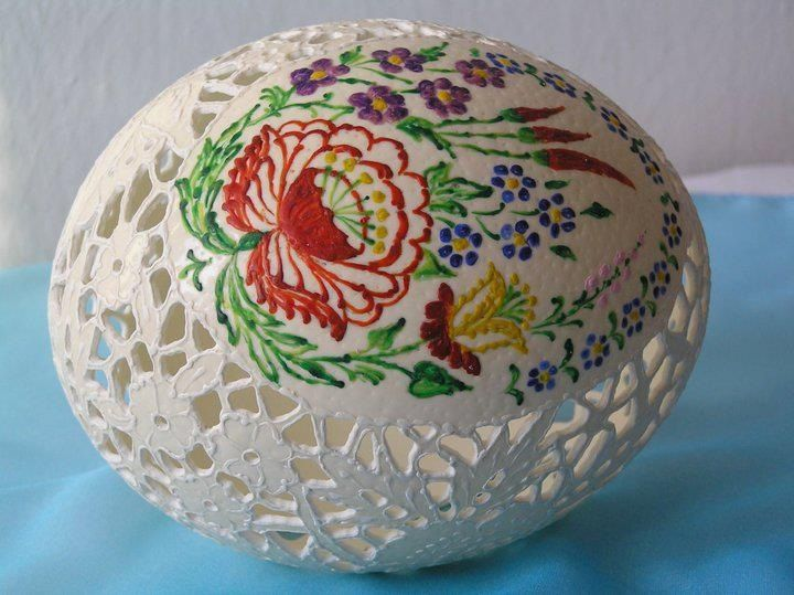 Hungarian beautiful carved/painted egg