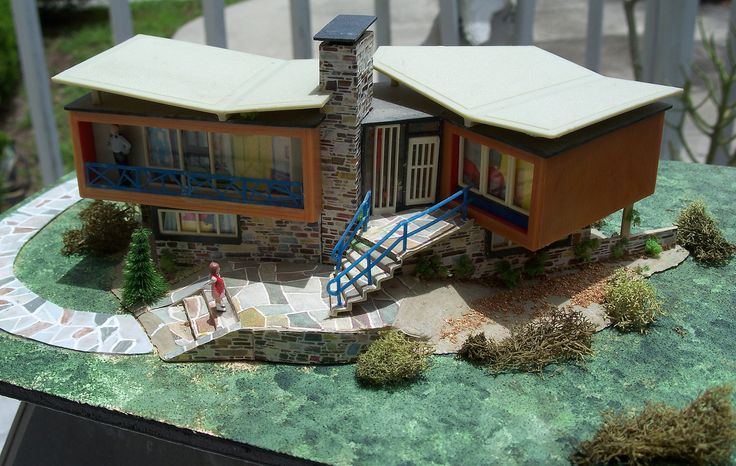Vintage Ho Scale Model House Assembled Mid Century