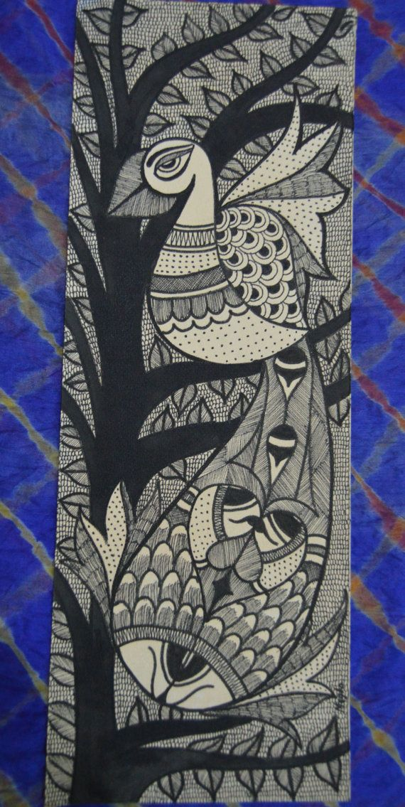 Mithila styled artwork Peacock and Fishes by MeghaArtlife on Etsy