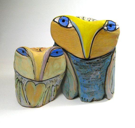 Ceramic Owls Whimsical Owl Sculpture Art Owl by BlueFireStudio, $135.00