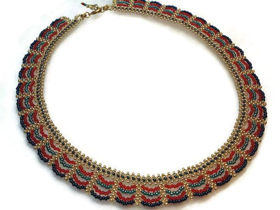 Beadwork NecklaceLace Bead NecklaceColorful by FIGENTAKI on Etsy