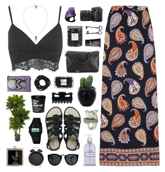 """Electric Forest"" by chelseapetrillo ❤ liked on Polyvore featuring moda, Tory Burch, Miss Selfridge, Nearly Natural, Sam Edelman, Crabtree & Evelyn, Nikon, Melissa, Dot & Bo i Casio"