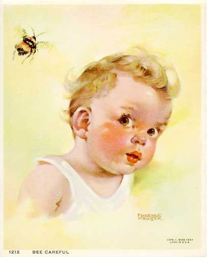 \: Bees, All Vintage Baby, Card, Vintage Image, Careful Fabric