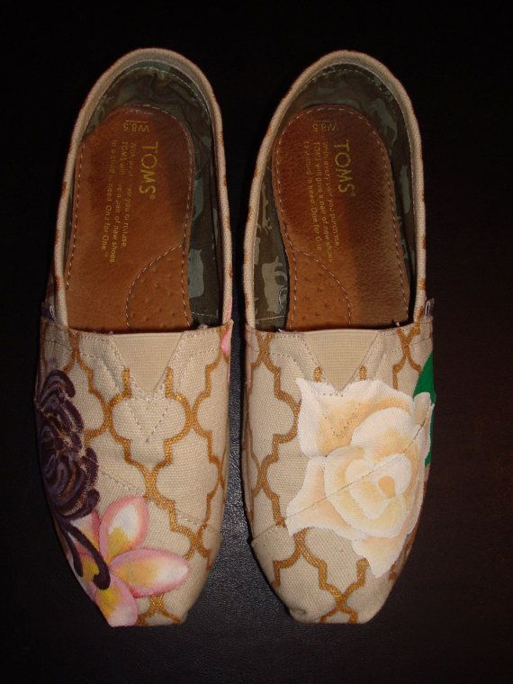 Custom hand-painted TOMS shoes, Gold & Flowers on Etsy, $150.00