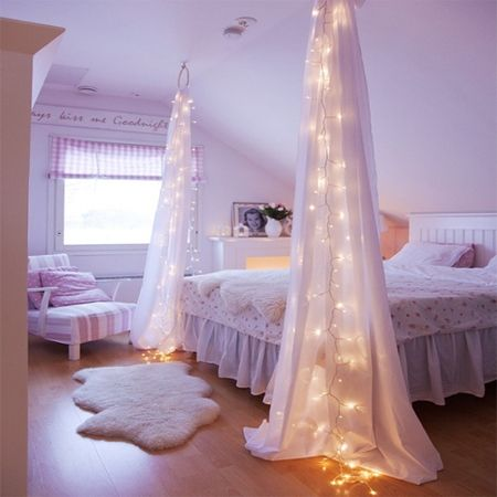 Fairy String Lights Drapes Canopy Bedroom Click For More Fairy Light Decor Ideas Pix