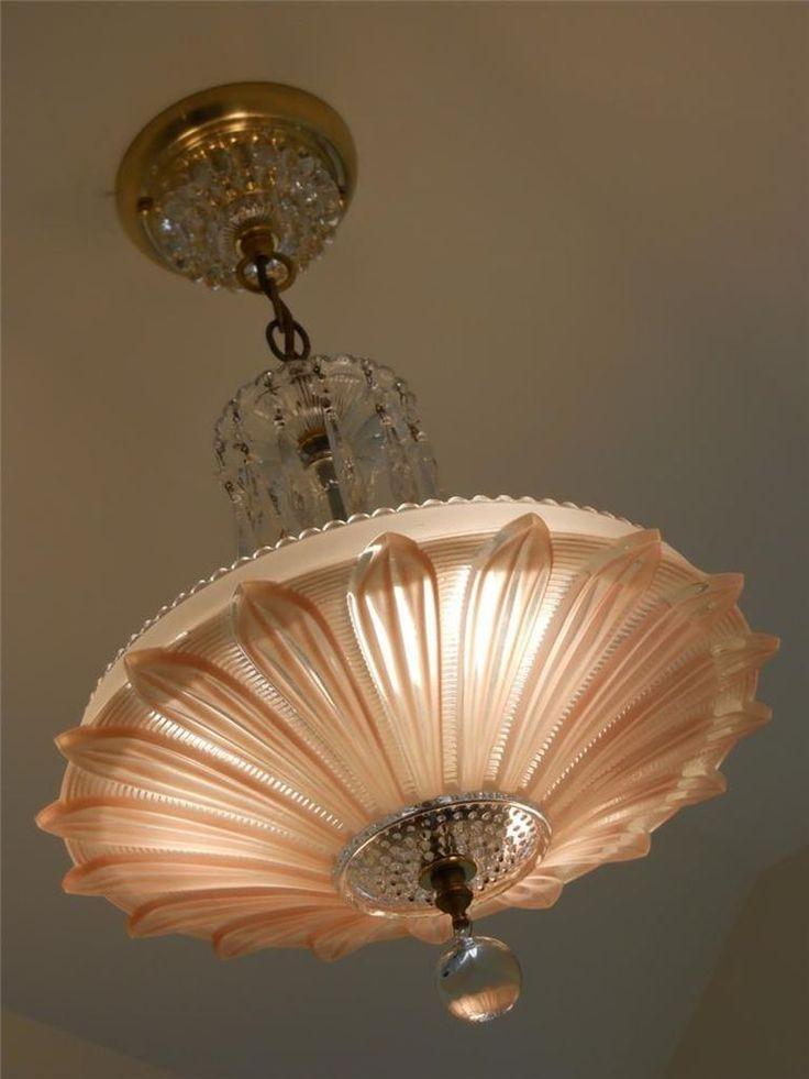 30s vintage artdeco ceiling light fixture chandelier american antique lamp shade - Antique Light Fixtures