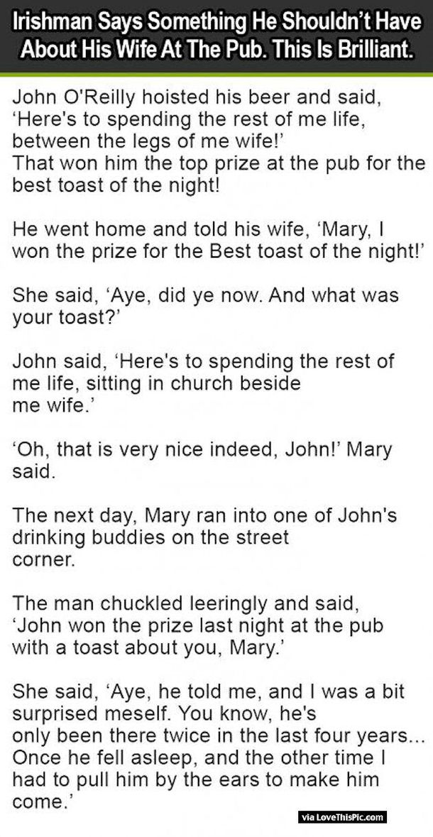 Irishman Says Something He Shouldn't Have About His Wife At The Pub. This Is Brilliant!