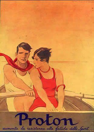 Proton coppia  seduta in barca 1928 - Marcello Dudovich