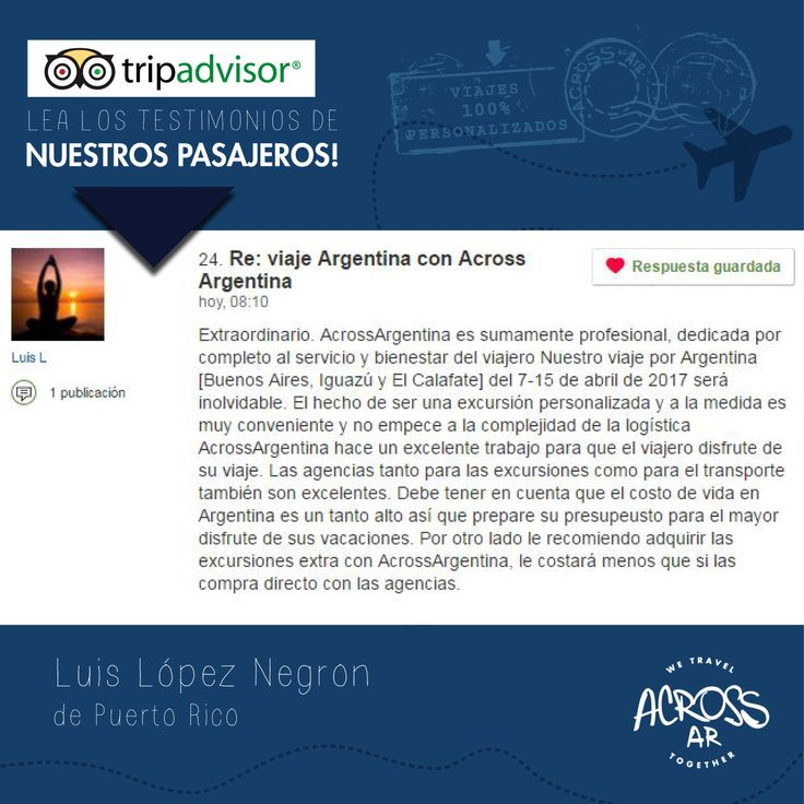 Nuestros #viajeros se llevan #experiencias de #viaje inolvidables!! Lea sus #testimonios en #TripAdvisor