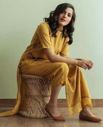 Mulmul Ajrakh Printed Dress Over Pants Set in Mustard