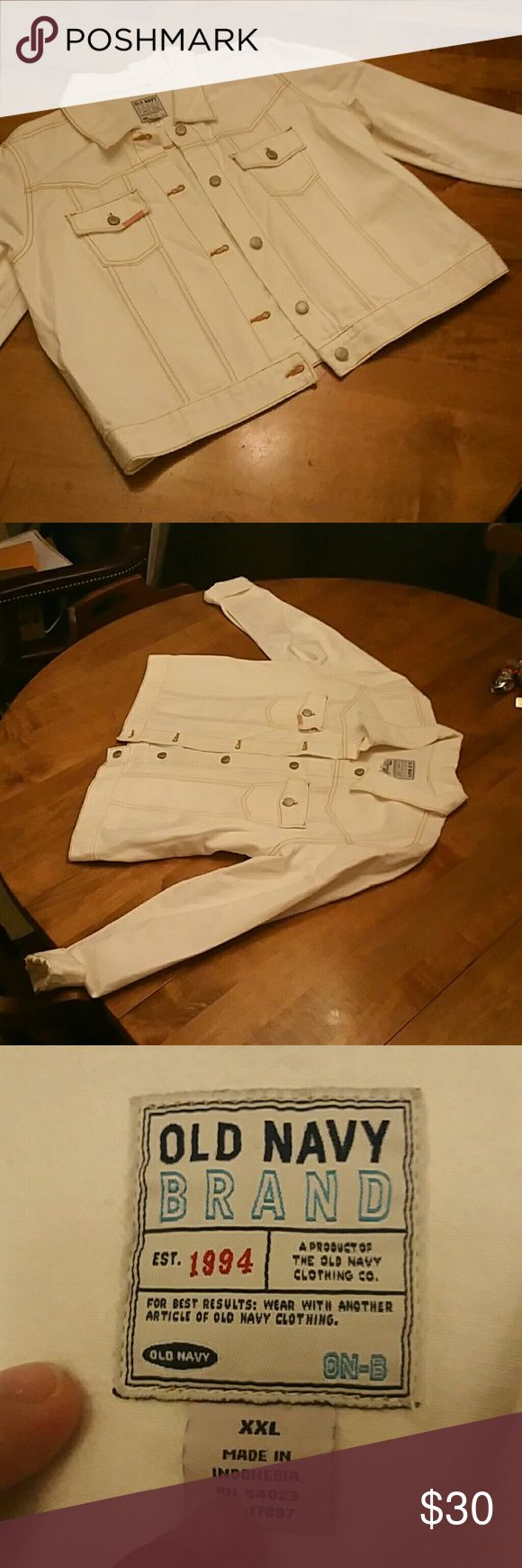 Old Navy jean jacket size XXL White Old Navy jean jacket size XXL.  Design on left rear shoulder.  Distressed. Old Navy Jackets & Coats Jean Jackets