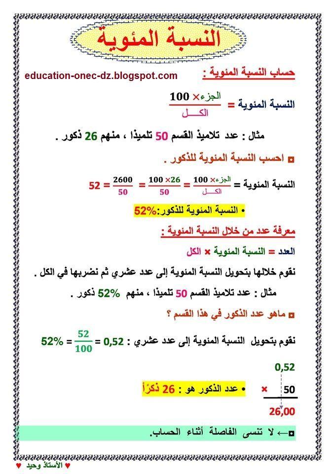 درس النسبة المئوية في الرياضيات للسنة الخامسة المكيفة مع الجيل الثاني Math Education Physics