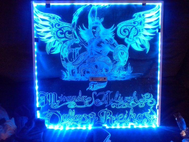 Glass engraving maori warrior blue led