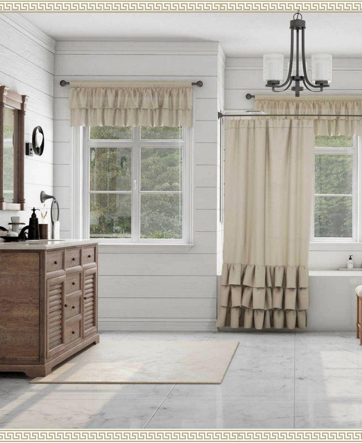 Beautiful shabby chic bathroom i love the ruffled shower curtain bathroom goals