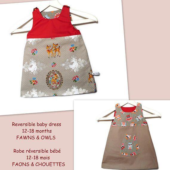 Autumn Baby Dress Reversible Girl Dress 12-18 months Animal