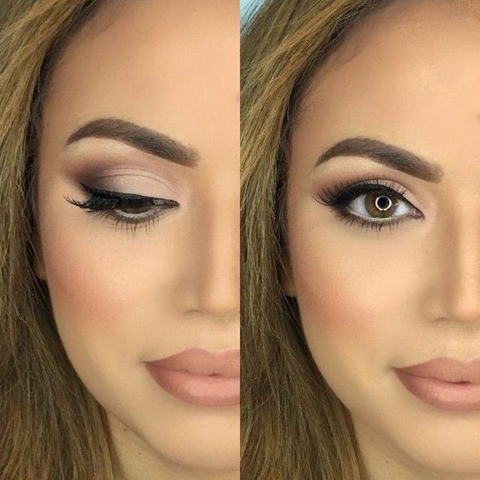 abendmakeup schöne frau große augen schminken volle lippen schminken lippenstift lidstrich augenbrauen