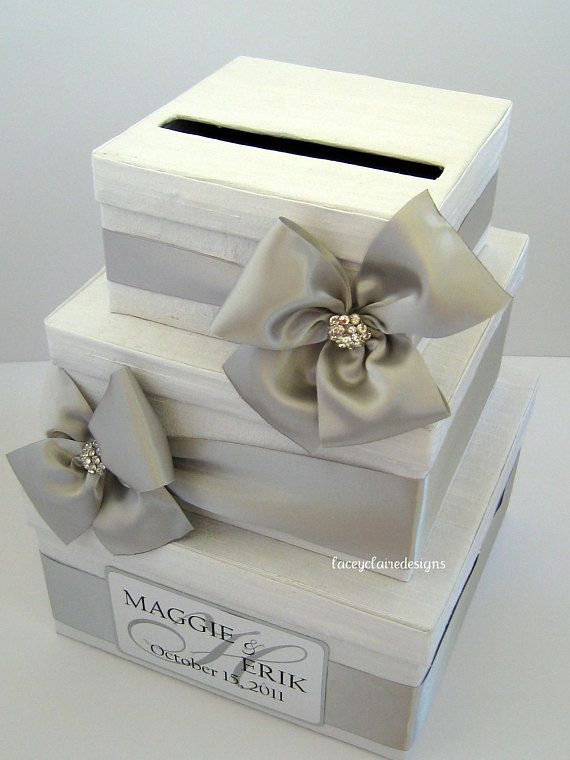 White And Silver Wedding Card Box Wedding Card Gift Holder Custom Made In Your Colors Three Tier Card Box Wedding Wedding Gift Card Box Silver Wedding Cards