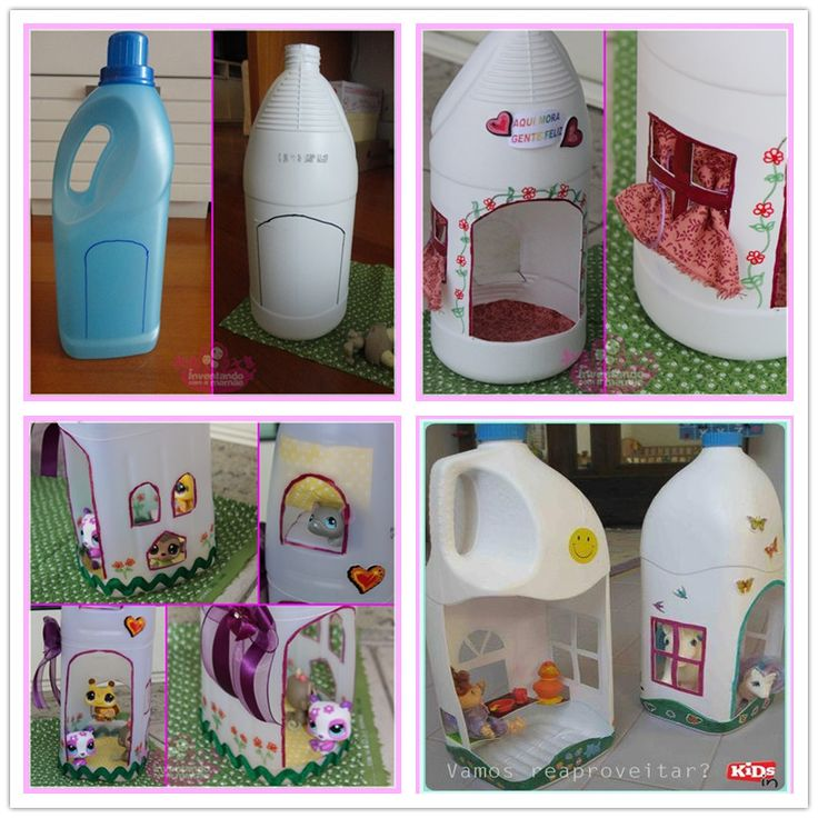 How to Make Cute Doll House from Plastic Jugs tutorial and instruction. Follow us: www.facebook.com/fabartdiy