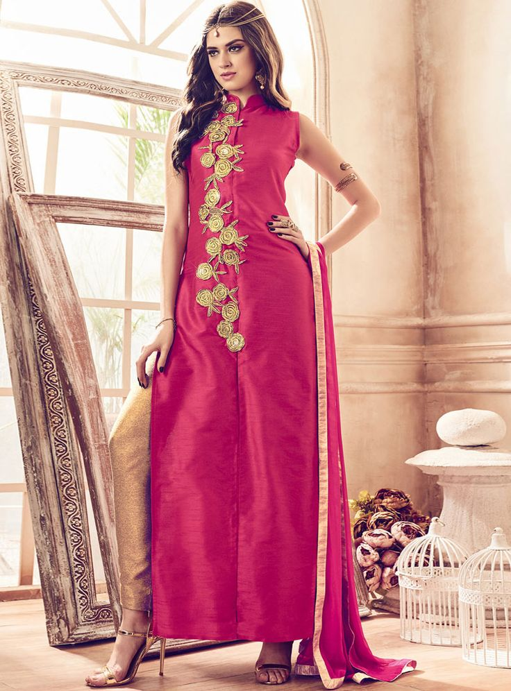 Magenta Banarasi Silk Straight Cut Suit 84792