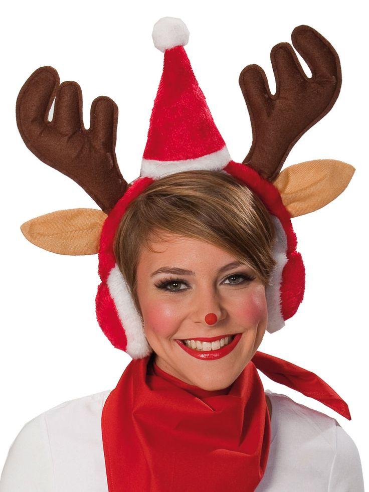 Weihnachtlicher Elch-Haarreif mit Ohrwärmern Geschenkidee braun-rot-weiss aus der Kategorie Originelle Geschenkideen / Weihnachtsgeschenke. Werden Sie zum Rentier! Der Hingucker auf dem Weihnachtsmarkt!